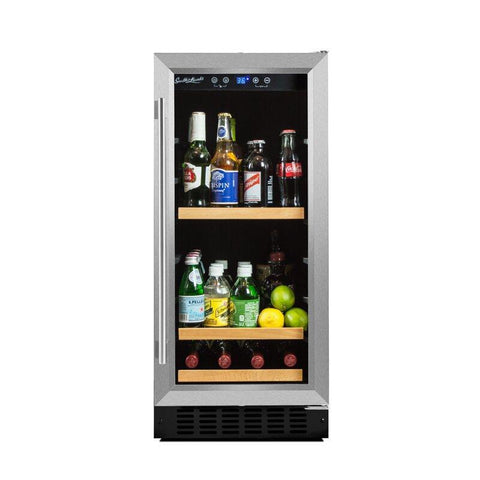 "Smith & Hanks 90 Cans Smith & Hanks 90 Can Beverage Cooler 15"" Single Zone Stainless Steel BEV88"