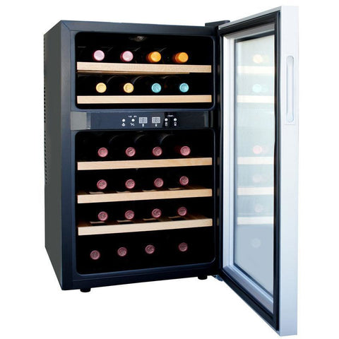 "Image of SPT WC-2463W 24 Bottles 18"" Wide Dual Zone Freestanding Thermo-Electric Wine Cooler w/ Wooden Shelves - SPT - 24 Bottles"