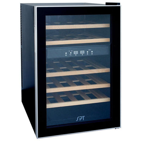 "SPT WC-2463W 24 Bottles 18"" Wide Dual Zone Freestanding Thermo-Electric Wine Cooler w/ Wooden Shelves - SPT - 24 Bottles"