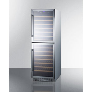 "Summit SWC1875BCSS Wine Cooler 118 Bottles 24"" Wide Dual Zone Stainless Steel Two Glass Doors Full Size - Summit - 118 Bottles"
