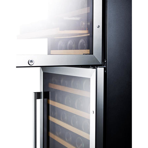 "Image of Summit SWC1875BCSS Wine Cooler 118 Bottles 24"" Wide Dual Zone Stainless Steel Two Glass Doors Full Size - Summit - 118 Bottles"