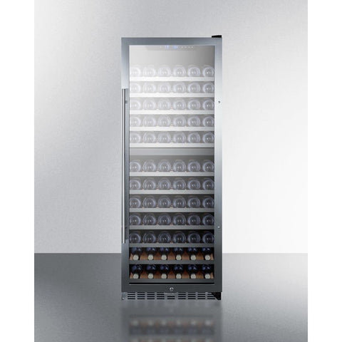 "Image of Summit SWC1380D Wine Cooler 122 Bottles 24"" Dual Zone Black Freestanding Full Size - Summit - 122 Bottles"