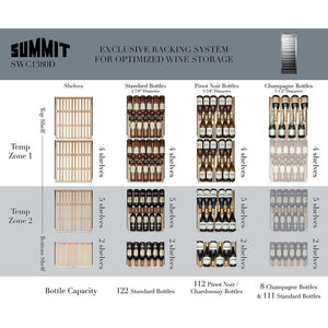 "Summit SWC1380D Wine Cooler 122 Bottles 24"" Dual Zone Black Freestanding Full Size - Summit - 122 Bottles"