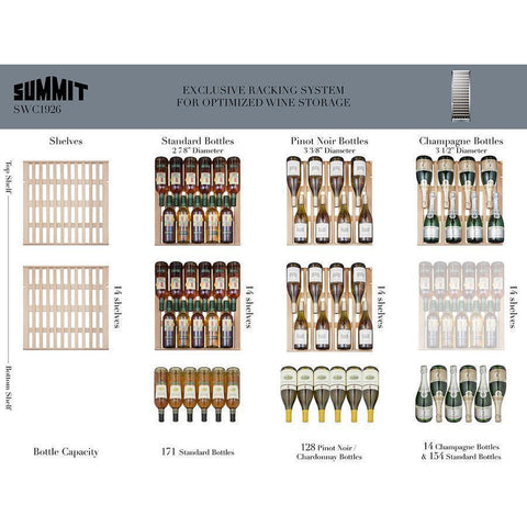 Image of Summit SWC1987T Wine Cellar 133 bottle  Triple zone with seamless stainless steel - Summit - 133 Bottles