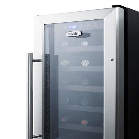 "Image of Summit SWC1224B Wine Cooler 21 Bottles  12"" Single Zone Black Built-in Under-counter - Summit - 21 Bottles"