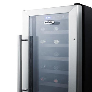 "Summit SWC1224B Wine Cooler 21 Bottles  12"" Single Zone Black Built-in Under-counter - Summit - 21 Bottles"