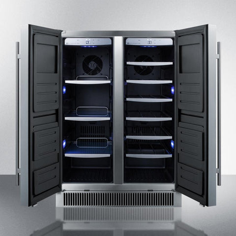 "Summit  CL64FDSS Wine Cooler 21 Bottles 24"" Dual Zone Beverage Center for Built-in or Freestanding Indoor use - Summit - 21 Bottles"