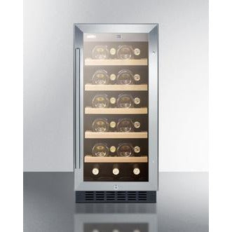 "Image of Summit  ALWC15 Wine Cooler 23 Bottles 15"" Single Zone Black Built-in ADA compliant - Summit - 23 Bottles"