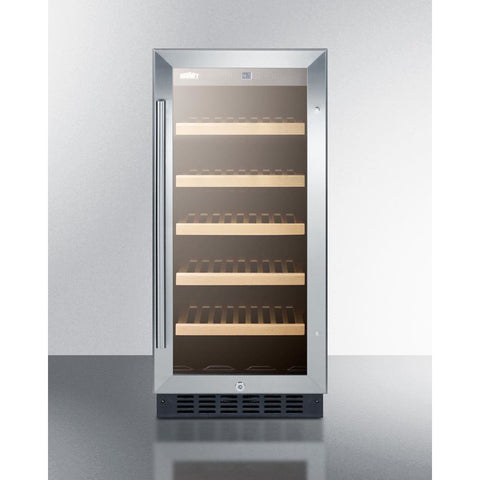 "Summit  ALWC15 Wine Cooler 23 Bottles 15"" Single Zone Black Built-in ADA compliant - Summit - 23 Bottles"
