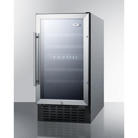 "Summit SWC182ZCSSADA Wine Cooler 28 Bottles 18"" Dual Zone Stainless Steel Built-in ADA Compact Size - Summit - 28 Bottles"