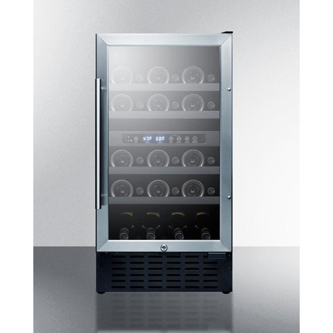 "Image of Summit SWC182Z Wine Cooler 28 Bottles 18"" Dual Zone Black Built-in Under-counter Compact Size - Summit - 28 Bottles"