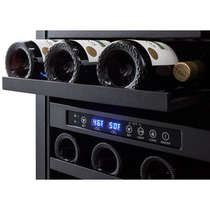 "Summit SWC182Z Wine Cooler 28 Bottles 18"" Dual Zone Black Built-in Under-counter Compact Size - Summit - 28 Bottles"
