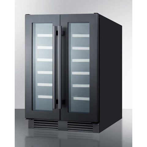 "Summit SWC24GKS  wine cellar 42 bottles 24"" wide built-in undercounter dual zone - Summit - 42 Bottles"