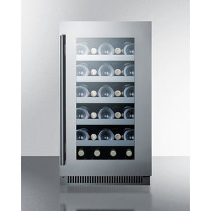 "Summit  CL18WC Wine Cooler 29 Bottles 18"" Single Zone Black Built-in or Freestanding - Summit - 29 Bottles"
