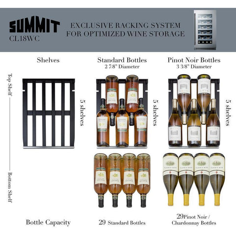 "Image of Summit  CL18WC Wine Cooler 29 Bottles 18"" Single Zone Black Built-in or Freestanding - Summit - 29 Bottles"