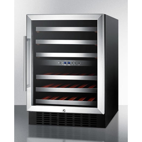 Summit SWC530BLBISTADA ADA compliant dual zone built-in wine cellar with digital thermostat, stainless steel trimmed shelves and black cabinet; replaces 46 bottles - Summit - 46 Bottles