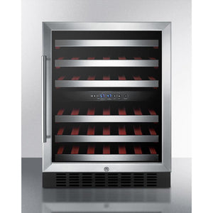 Summit SWC530BLBISTCSSADA ADA compliant dual zone built-in wine cellar with digital thermostat, stainless steel trimmed shelves, and stainless steel wrapped cabinet; replaces 46 bottles - Summit - 46 Bottles