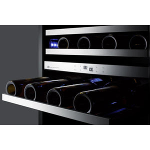"Summit  CL24WC2 Wine Cooler 46 Bottles 20"" Dual Zone Black Built-in or Freestanding - Summit - 46 Bottles"