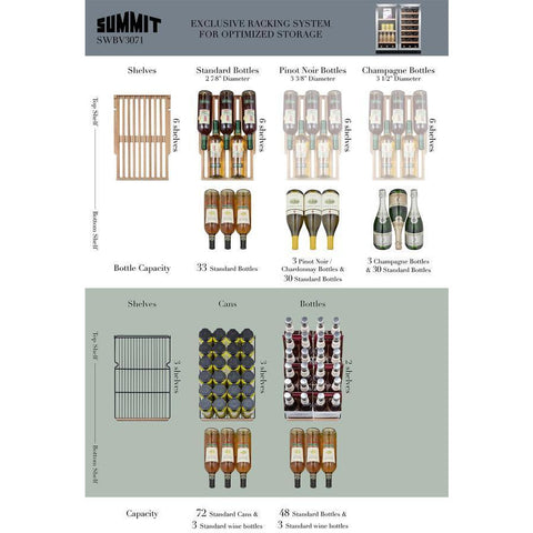 "Summit SWBV3071 Beverage Center 33 Bottles 30"" Dual Zone Black Built-in Under-counter with French Doors and Locks - Summit - 33 Bottles"