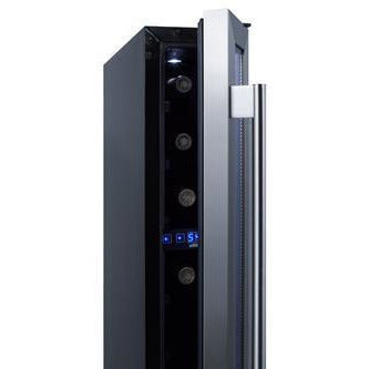 "Summit SWC007 Wine Cooler 7 Bottles 6"" Single Zone Black Built-in Under-counter ADA compliant - Summit - 7 bottles"