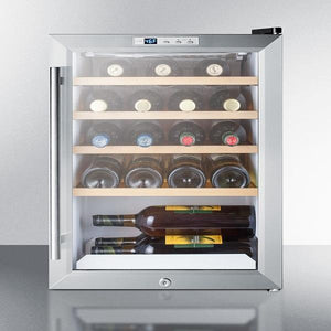 "Summit Commercial   SCR312LBICSSWC2 Wine Cooler 22 Bottles 17"" Single Zone Stainless Steel Free Standing Commercially Approved - Summit Commercial - 22 Bottles"