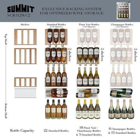 "Image of Summit Commercial   SCR312LBICSSWC2 Wine Cooler 22 Bottles 17"" Single Zone Stainless Steel Free Standing Commercially Approved - Summit Commercial - 22 Bottles"