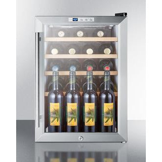 Image of Summit Commercial   SCR312LCSSWC2 Wine Cooler 22 bottles Compact Wine Cellar Commercially approved counter-top with glass door, front lock, stainless steel cabinet, and digital thermostat  - SCR312LCSSWC2 - Summit Commercial - 22 Bottles