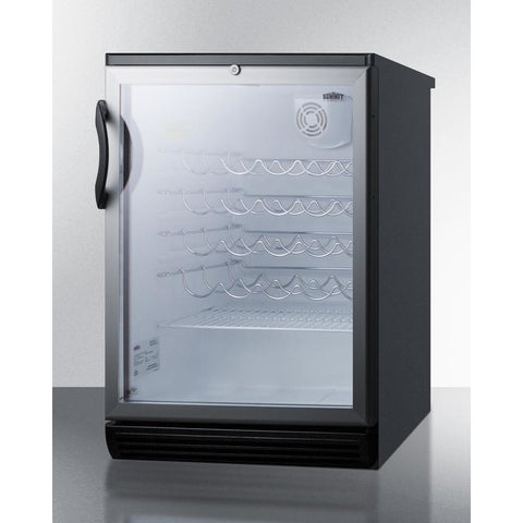 Summit Commercial SWC6GBLBITBADA ADA compliant, commercially approved wine cellar for built-in undercounter use, with glass door, black cabinet, towel bar handle and lock 36 bottles - Summit Commercial - 36 Bottles