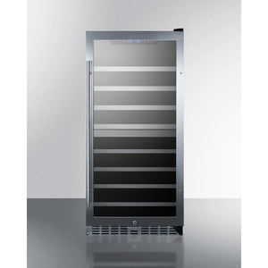 Summit SWC902D dual zone wine cellar with seamless stainless steel trimmed glass door, lock, and digital controls 62 bottles - Summit Commercial - 62 Bottles