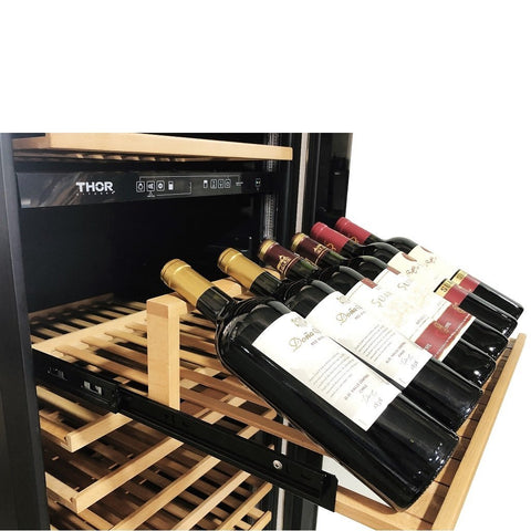 "Thor Kitchen 162 Bottles Thor Kitchen 24"" 162 Bottle Dual Zone Freestanding Wine Cooler TWC2403DI"