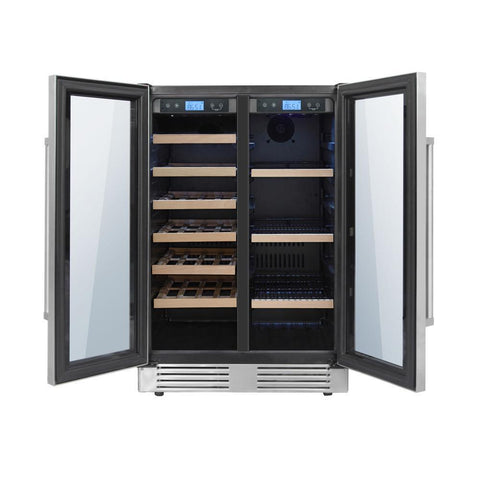 "Thor Kitchen Wine Center- 24"" Wide 21 Bottles Dual Zone w/Stainless Steel Dual Door TBC2401DI - Thor Kitchen - 21 Bottles"