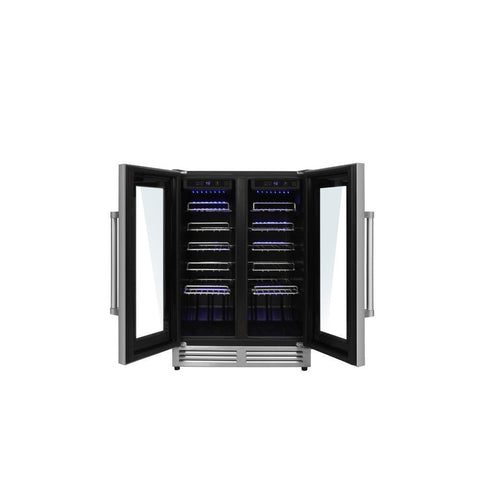 "Thor Kitchen Wine Cooler- 23.5"" Wide 42 Bottles Dual Zone w/Stainless Steel Dual Door TWC2402 - Thor Kitchen - 42 Bottles"