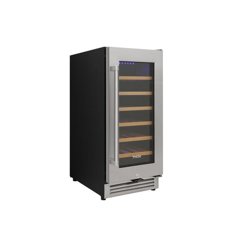 "Image of Thor Kitchen Wine Cooler- 15"" Wide 33 Bottles Single Zone w/Lock & Sabbath Mode TWC1501 - Thor Kitchen - 33 Bottles"