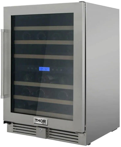 "Thor Kitchen 46 Bottles Thor Kitchen Wine Cooler TWC2401DO- 24"" Wide 46 Bottles Dual Zone"