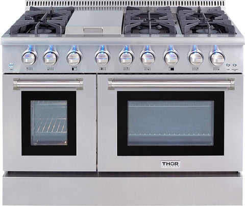 "Thor Kitchen Dual Fuel Range Thor Kitchen HRD4803U- 48"" Professional Dual Fuel Range"