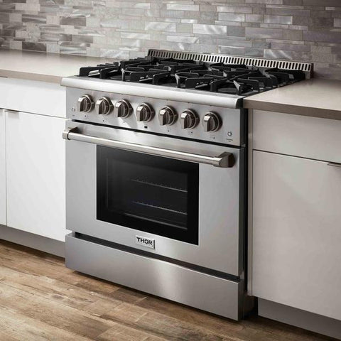 "Thor Kitchen Gas Range Thor Kitchen HRD3606U- 36"" Professional Gas Range 5.2cu Ft"