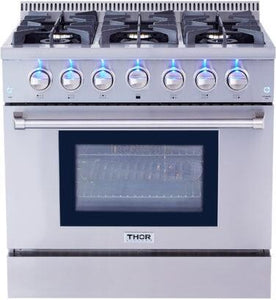 "Thor Kitchen Gas Range Thor Kitchen HRG3618U- 36"" Professional Gas Range"
