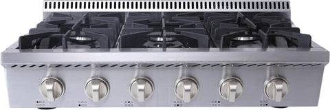 "Thor Kitchen Gas Rangetop Thor Kitchen HRT3618U- 36"" Natural Gas Rangetop with 6 Burners"