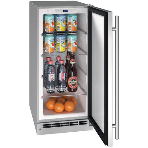 "Image of U-Line UORE115-SS01A Outdoor Refrigerator 111 Bottle Built In 15"" Wide w/ Reversible Hinge Stainless Steel Cabinet - U-Line - 111 Bottles"