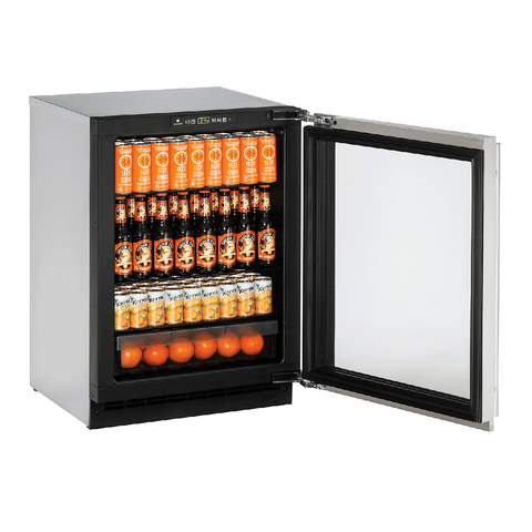 "Image of U-Line 2224RGLS-00B Glass Refrigerator 114 Bottles 24"" Wide w/ Reversible Hinge Stainless Steel 2000 Series - U-Line - 114 Bottles"