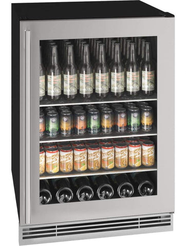"U-Line 117 Bottles BC U-Line UHBV024-SG01A Beverage Center 117 Bottles 24"" Wide Stainless Built-In"