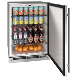 "U-Line UORE124-SS01A 1 Outdoor Refrigerator 117 Bottle Solid Refrigerator 24"" Wide w/ Reversible Hinge Stainless Steel Cabinet - U-Line - 117 Bottles"