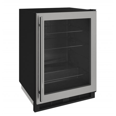 "U-Line  U-1224RGLS-00A Glass Refrigerator 123 Bottles 24"" Wide w/ Reversible Hinge Stainless 1000 Series - U-Line - 123 Bottles"