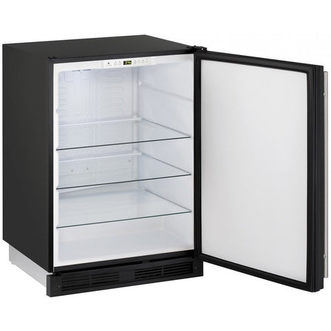 "Image of U-Line U-1224RFS-00B Compact Refrigerator 123 Bottle Capacity 24"" Wide w/ Reversible Hinge Stainless Steel 1000 Series - U-Line - 123 Bottles"