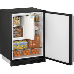 "U-Line U-1224RFS-00B Compact Refrigerator 123 Bottle Capacity 24"" Wide w/ Reversible Hinge Stainless Steel 1000 Series - U-Line - 123 Bottles"