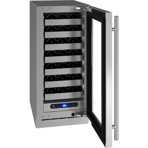 "U-Line UHWC515-SG01A Wine Cooler 28 Bottles 15"" Wide Single Zone Reversible Hinge Stainless Steel 5 Class - U-Line - 28 Bottles"