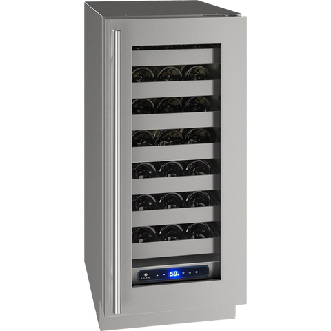 "Image of U-Line UHWC515-SG01A Wine Cooler 28 Bottles 15"" Wide Single Zone Reversible Hinge Stainless Steel 5 Class - U-Line - 28 Bottles"