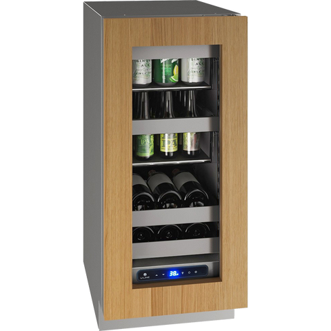 "Image of U-Line UHBV515-SG01A Beverage Center 34 Bottles 15"" Wide Single Zone Reversible Hinge Stainless Cabinet 5 Class - U-Line - 34 Bottles"