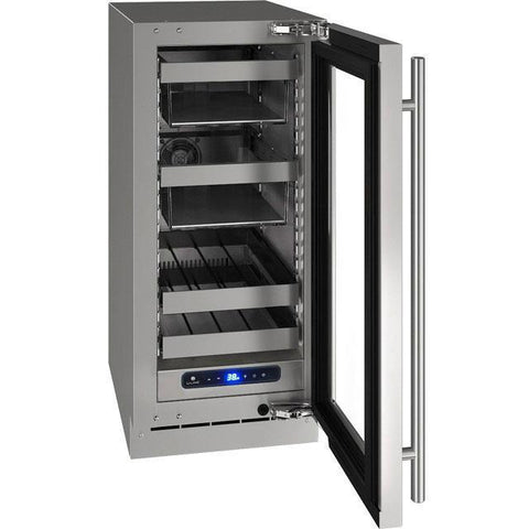 "U-Line UHBV515-SG01A Beverage Center 34 Bottles 15"" Wide Single Zone Reversible Hinge Stainless Cabinet 5 Class - U-Line - 34 Bottles"