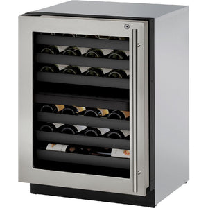 "U-Line- U-3024ZWCS-00B Wine Cooler 43 Bottles 24"" Wide Single Zone with Reversible Hinge Stainless Door 3000 Series - U-Line - 43 Bottles"